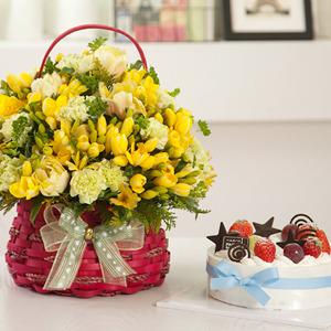 FN1718 봄의꽃후리지아+케익